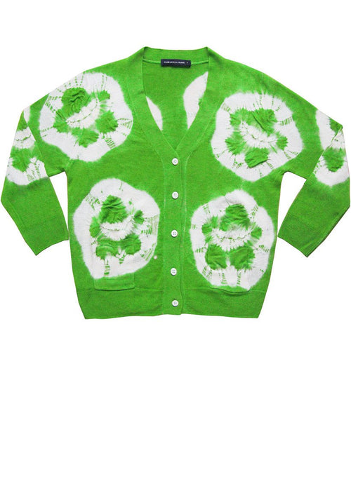 Short | Double Flower Shibori | Grass Green | Front-1 | Cardigan by Samantha Sung