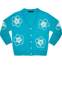 Short | Star Shibori | Aqua | Front-1 | Cardigan by Samantha Sung