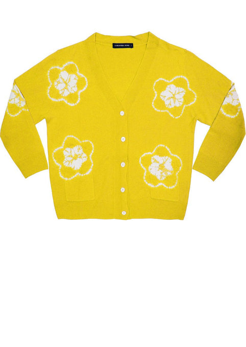 Short | Star Shibori | Chrome Yellow | Front-1 | Cardigan by Samantha Sung