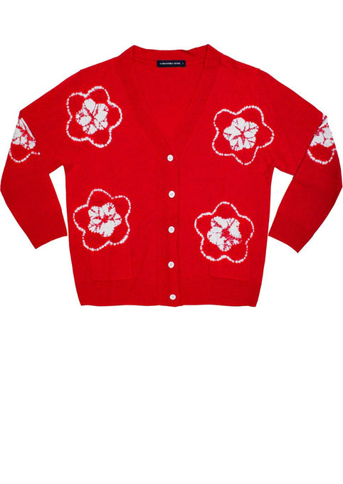 Short | Star Shibori | Indian Red | Front-1 | Cardigan by Samantha Sung