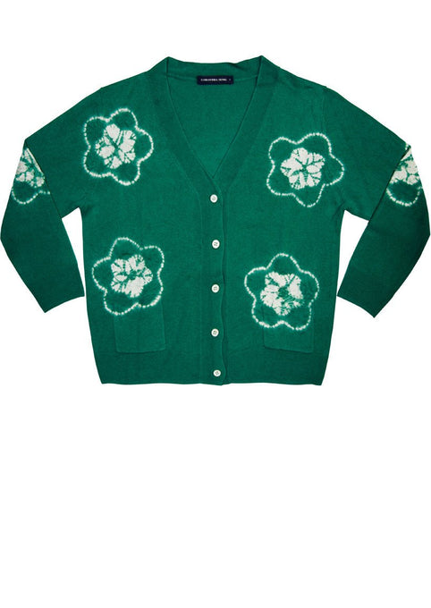 Short | Star Shibori | Ivy Green | Front-1 | Cardigan by Samantha Sung