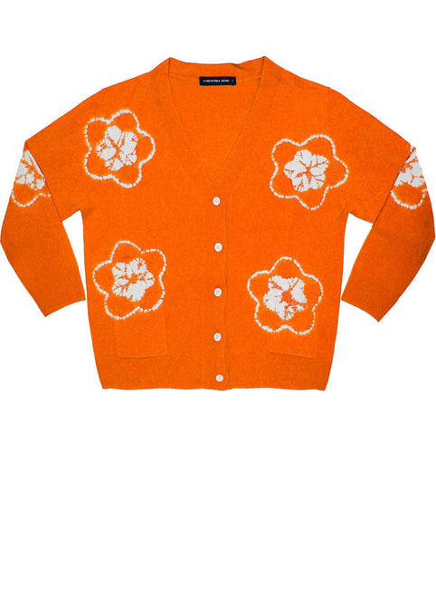 Short | Star Shibori | Orange | Front-1 | Cardigan by Samantha Sung