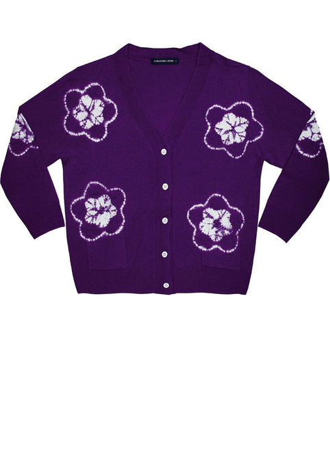Short | Star Shibori | Orchid | Front-1 | Cardigan by Samantha Sung