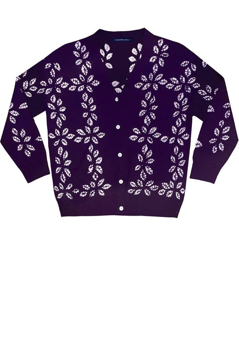 Short | Wretth Shibori | Royal Purple | Front-1 | Cardigan by Samantha Sung