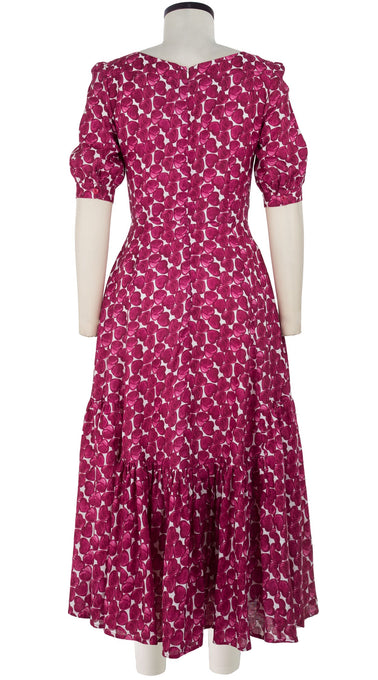 Amanda Dress Boat Neck 1/2 Puff Sleeve Tea Length Linen (Cezanne Heart)