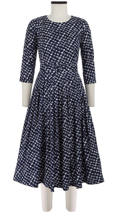 Florance Dress #2 Crew Neck 3/4 Sleeve Midi Length Cotton Stretch (Channel Tweed)
