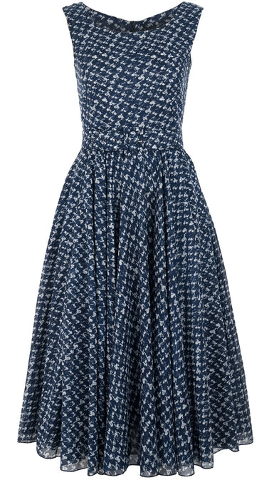 Aster Dress Boat Neck Sleeveless Midi Length Cotton Musola (Channel Tweed)