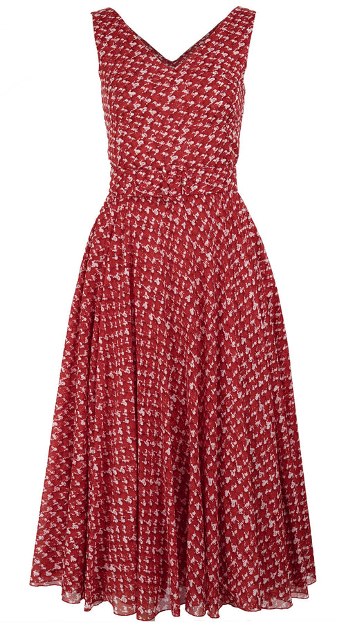 Aster Dress Open V Neck Mini Cap Sleeve Midi Length Cotton Musola (Channel Tweed)