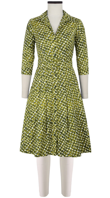 Audrey Dress #3 Shirt Collar 3/4 Sleeve Cotton Stretch (Channel Tweed)