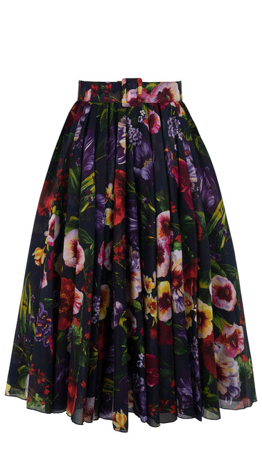 Aster Skirt #1 with Belt Midi Length Cotton Musola (Chelsea Garden)