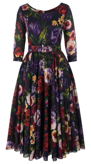 Aster Dress Boat Neck 3/4 Sleeve Midi Length Cotton Musola (Chelsea Garden)