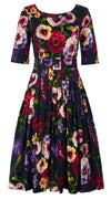 Florance Dress #2 Boat Neck 1/2 Sleeve Long Length Cotton Stretch (Chelsea Garden)