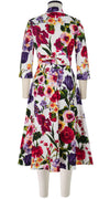 Abel Dress #3 Shirt Collar 3/4 Elbow Sleeve Midi Length Cotton Stretch (Chelsea Garden)