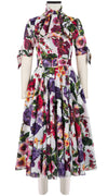 Aster Dress U Neck 1/2 Tie Sleeve Midi Length Cotton Musola (Chelsea Garden)