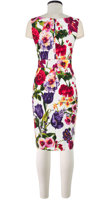 Victoria Dress Boat Neck Mini Cap Sleeve Cotton Dobby Stretch (Chelsea Garden)
