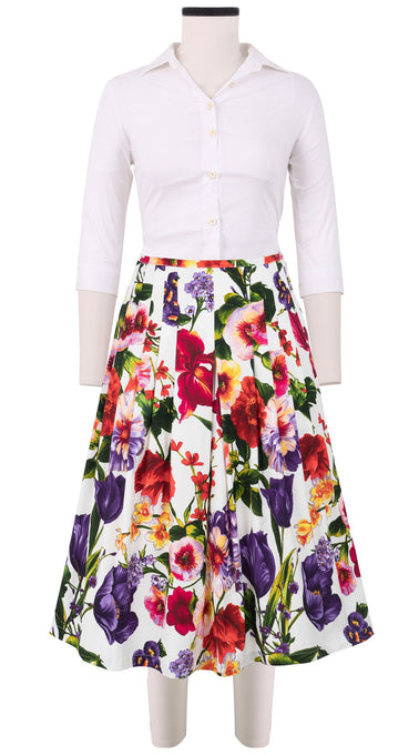 Zelda Skirt Long Length Cotton Stretch (Chelsea Garden)