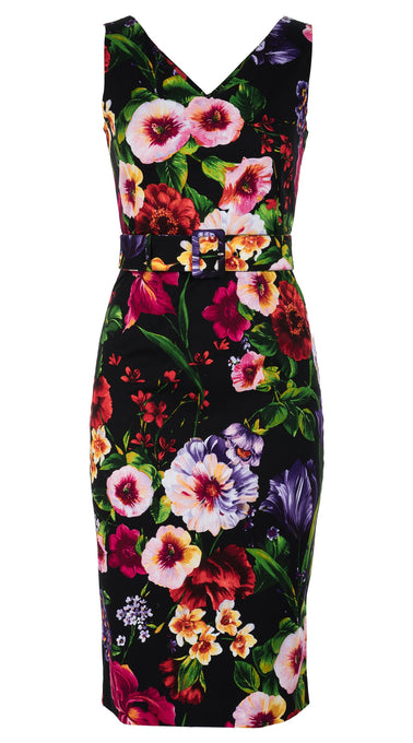 Victoria Dress Open V Neck Sleeveless Long Length Cotton Dobby Stretch (Chelsea Garden)