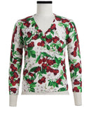 Charlotte Cardigan V Neck 3/4 Sleeve_70% Silk 30% Cashmere_Cherry Blossom White_White Indian Red
