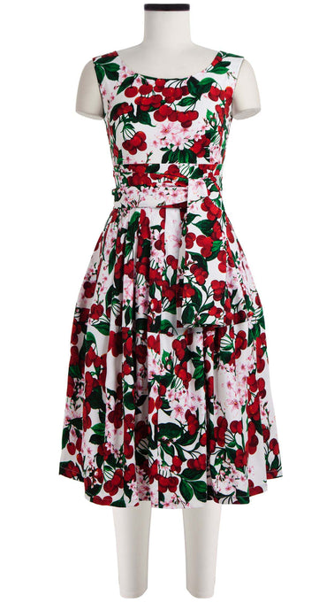 Rachel Dress Boat Neck Mini Cap Sleeve Cotton Stretch (Cherry Blossom White)