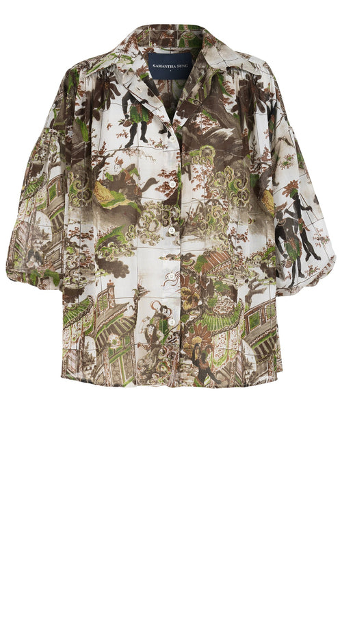 Julia Blouse Shirt Collar 3/4 Sleeve Cotton Musola (Chinoi East West)