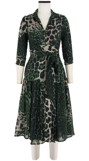 Pearl Dress Shirt Collar 3/4 Sleeve Midi Length Wool Musola (Colombo Leopard Dark)