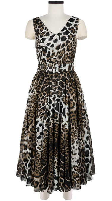 Aster Dress Open V Neck Sleeveless Midi Length Cotton Musola (Colombo Leopard)