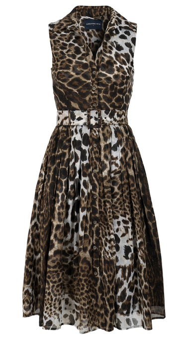 Audrey Dress #2 Shirt Collar Sleeveless Long Length Cotton Musola (Colombo Leopard)