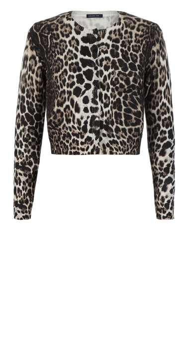 Carolina Cardigan Short Crew Neck Long Sleeve_100% Cashmere_Colombo Leopard_Camel