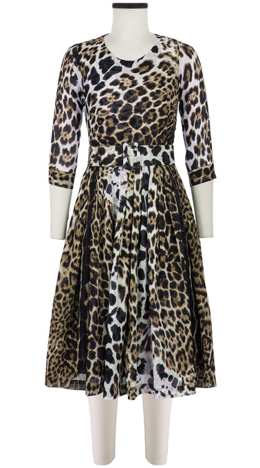 Florance Dress #2 Crew Neck 3/4 Sleeve Long Length Cotton Musola (Colombo Leopard)