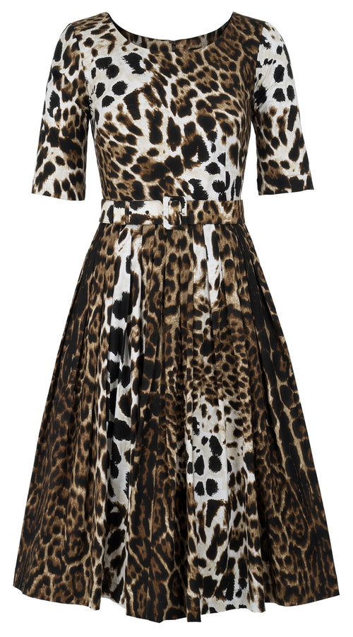 Florance Dress Boat Neck 1/2 Sleeve Long Length Cotton Stretch (Colombo Leopard)