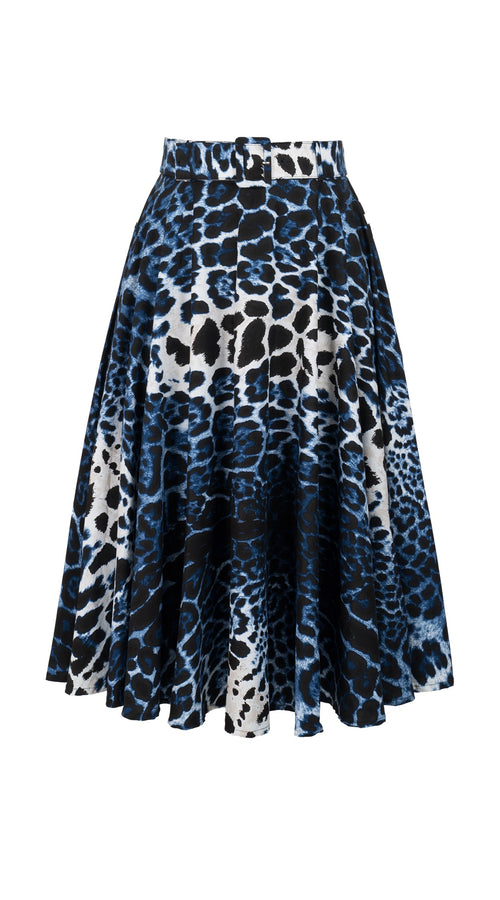 Carol Skirt Midi Length Cotton Stretch (Colombo Leopard Dark)