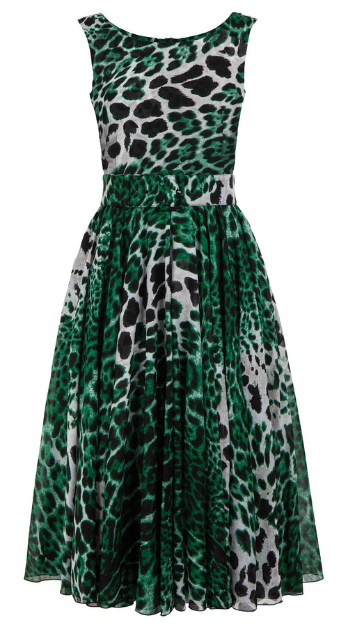 Aster Dress Boat Neck Mini Cap Sleeve Midi Length Cotton Musola (Colombo Leopard)