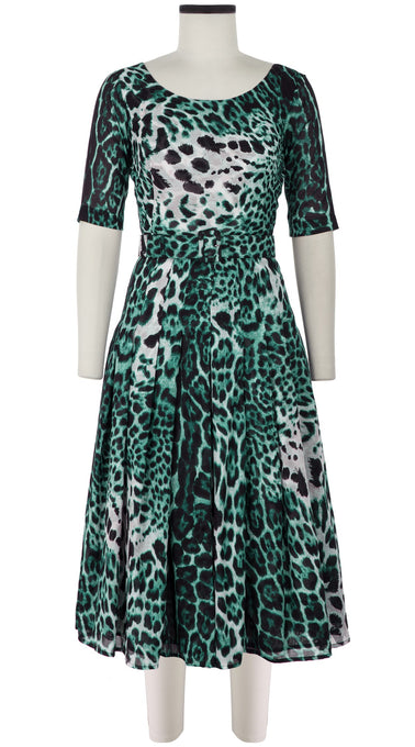 Zeller Dress Boat Neck 1/2 Sleeve Midi Length Cotton Musola (Colombo Leopard)