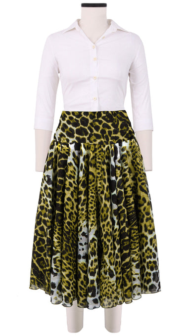 Aster Skirt with Yoke Midi Length Cotton Musola (Colombo Leopard)