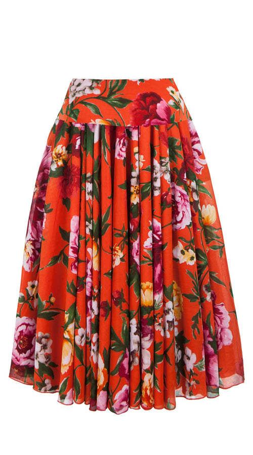 Aster Skirt with Yoke Midi_Cotton Musola_Copacabana Flower Red_Orange
