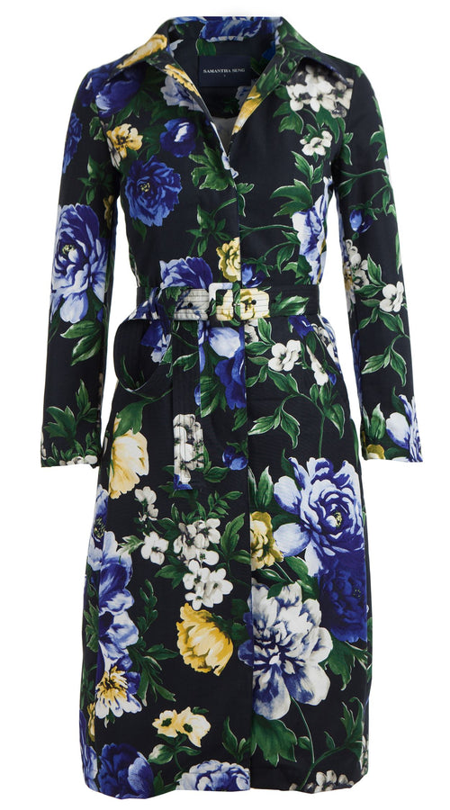 Parisienne Coat Long Sleeve Long Length Silk Cotton Ottoman (Copacabana Flower Blue)