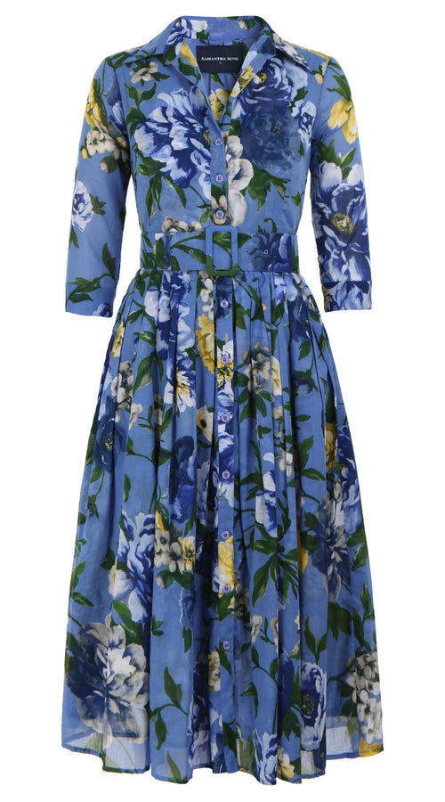 Audrey Dress #2 Double Layer Shirt Collar 3/4 Sleeve Long Length Cotton Musola (Copacabana Flower Blue)