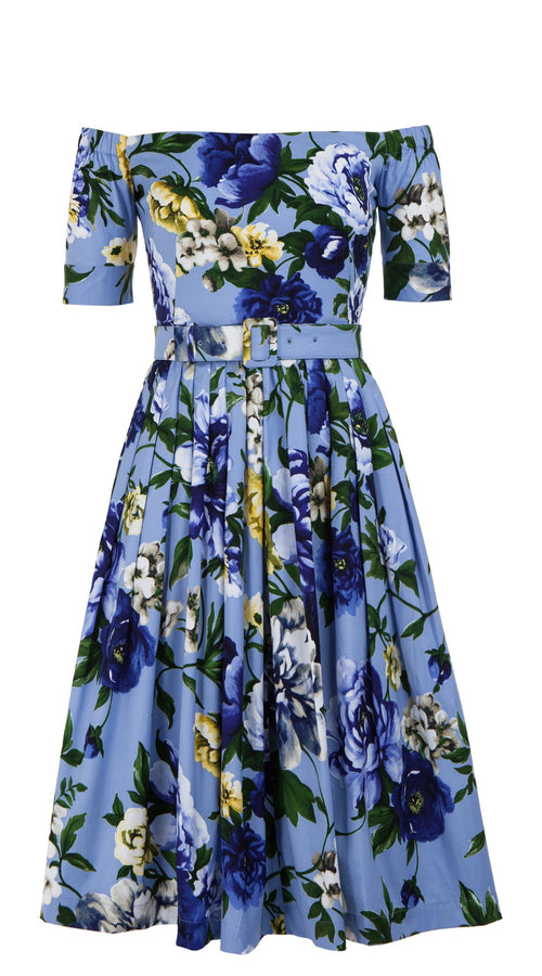 Florance Dress Off Shoulder 1/2 Sleeve Long Length Cotton Stretch (Copacabana Flower Blue)