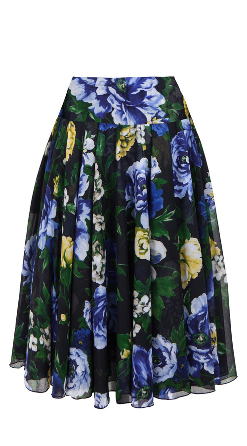 Aster Skirt with Yoke Midi with Tulle Black_Cotton Musola_Copacabana Flower Blue_Indigo Blue