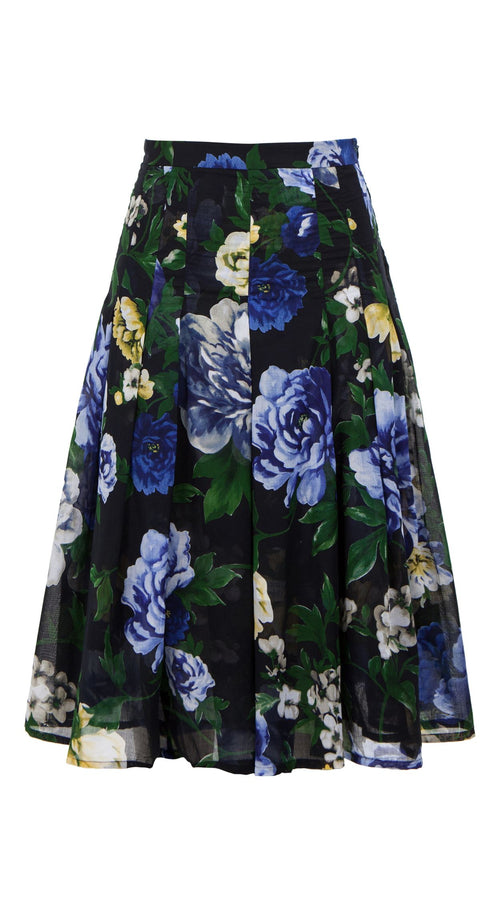 Zeller Skirt Long Length Cotton Musola (Copacabana Flower Blue)