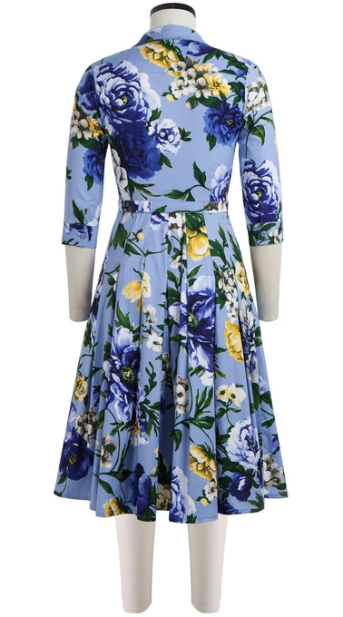 Audrey Dress #3 Shirt Collar 3/4 Sleeve Long Length Cotton Stretch (Copacabana Flower Blue)