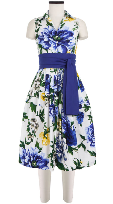 Claire Dress Shirt Collar Sleeveless Cotton Stretch (Copacabana Flower Blue)