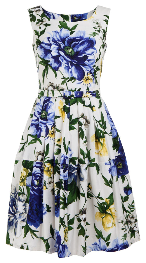 Rachel Dress Boat Neck Mini Cap Sleeve Cotton Stretch (Copacabana Flower Blue)