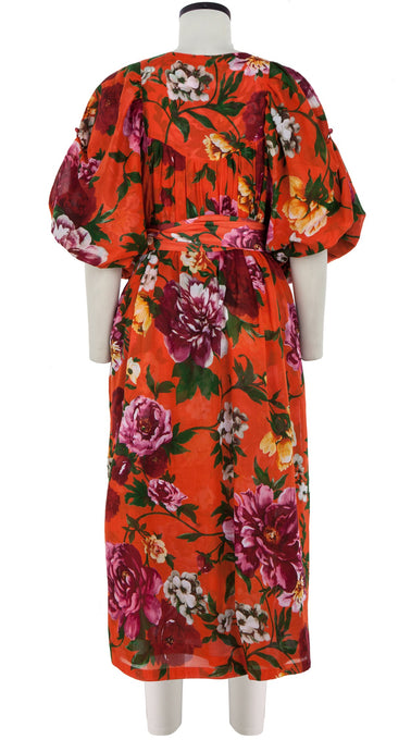 Anastasia Dress Crew Slit Neck 3/4 Sleeve Tea Length Cotton Musola (Copacabana Flower Red)