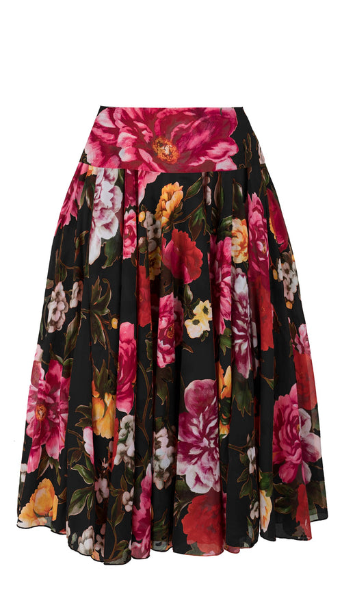 Aster Skirt with Yoke Midi with Tulle Black_Cotton Musola_Copacabana Flower Red_Black Red