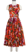Aster Dress Crew Neck Sleeveless Midi Length Cotton Musola (Copacabana Flower Red)