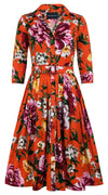 Audrey Dress #2 Shirt Collar 3/4 Sleeve Long Length Cotton Stretch (Copacabana Flower Red)