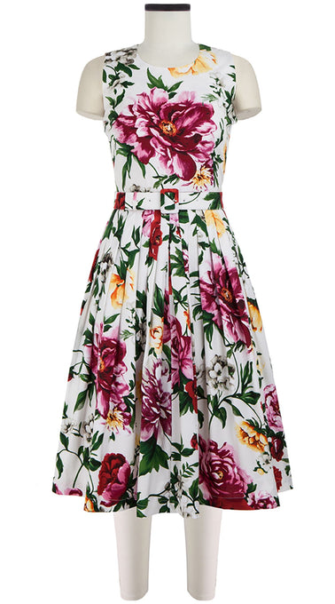 Florance Dress Crew Neck Sleeveless Long Length Cotton Stretch (Copacabana Flower Red)