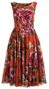 Aster Dress Boat Neck Mini Cap Sleeve Midi Length Cotton Musola (Copacabana Flower Red)