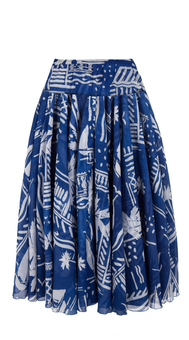 Aster Skirt with Yoke Cotton Musola (Cote D'azure)
